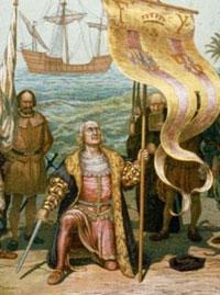 Recreación pictórica de la llegada de Colón a América.