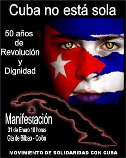 Cuba no está sola, manifestación de solidaridad con Cuba en Madrid, sábado 31 de enero.