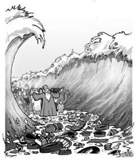 Moises, Humor gráfico, por Linares.